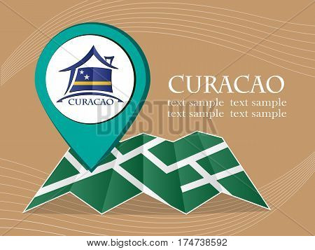 map with pointer flag Curacao vector illustration eps 10.