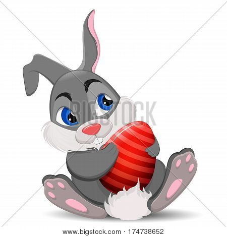 Gray Easter Rabbit sitting and holding egg. Cute cartoon Easter Bunny character. Stock vector illustration