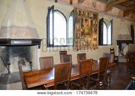 Gradara Italy - 2 July 2016: Lunchroom of Gradara castle on Marche Italy.