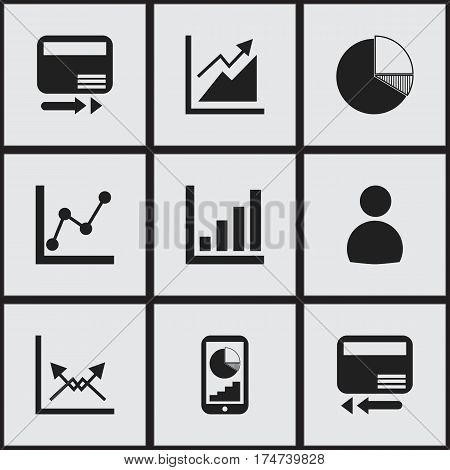 Set Of 9 Editable Logical Icons. Includes Symbols Such As User, Statistic, Phone Statistics And More. Can Be Used For Web, Mobile, UI And Infographic Design.