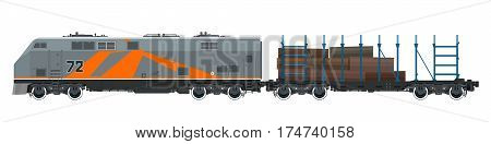 Orange Locomotive with Railway Platform for Timber Transportation ,Train on White Background ,Railway and Cargo Transport, Vector Illustration