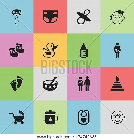 Set Of 16 Editable  Icons. Includes Symbols Such As Cheerful Child, Goplet, Stroller And More. Can Be Used For Web, Mobile, UI And Infographic Design.