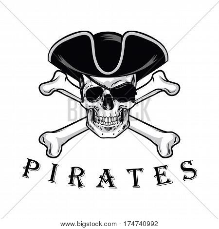 Pirate Skull With Cross Bones Hat And Eyepatch Logo Design Vector Illustration