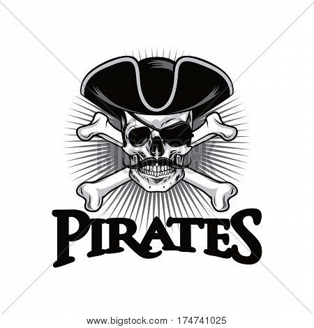 Pirate Skull With Mustache Cross Bones Hat And Eyepatch Logo Design Vector Illustration