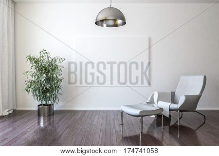 Armchair for relaxing a house plant a chandelier and a blank canvas on the wall. 3d Render
