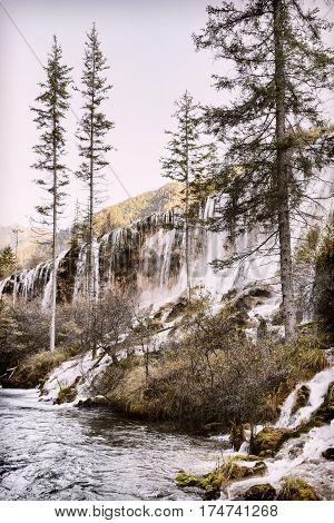 Beautiful View Of The Pearl Shoals Waterfall. Toned Image