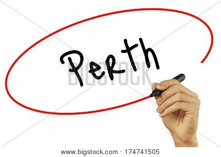 Man Hand Writing Perth With Black Marker On Visual Screen. Isolated On Background. Business, Technol