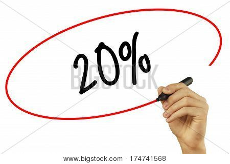 Man Hand Writing 20% With Black Marker On Visual Screen. Isolated On Background. Business, Technolog