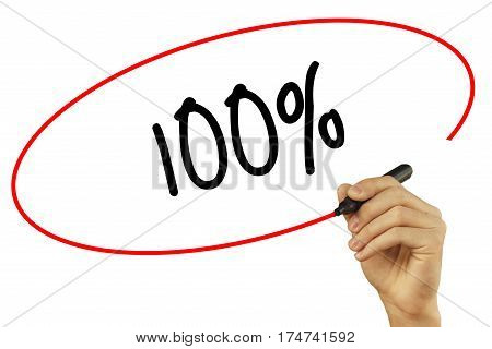 Man Hand Writing 100% With Black Marker On Visual Screen. Isolated On Background. Business, Technolo