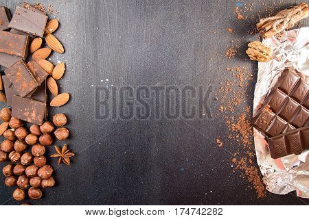 Chocolate Pieces With Cocoa Powder, Filbert, Chocolate Shavings, Cinnamon, Anise Star