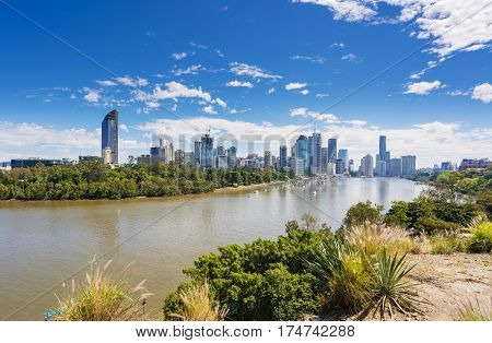 View of Brisbane city skyline and Brisbane river in daytime