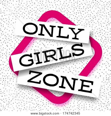 Only Girls abstract pitahaya background vector promo banner with pink frame