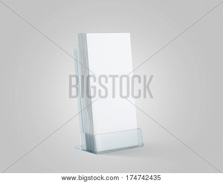 Blank white flyers stack mockup in glass plastic holder 3d rendering. fliers mock ups stand in the acrylic box. Brochure template holding in transparent plexiglass pocket. Booklets in plastic tray