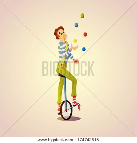 Cartoon Circus juggler juggling balls on a unicycle. Vector illustration