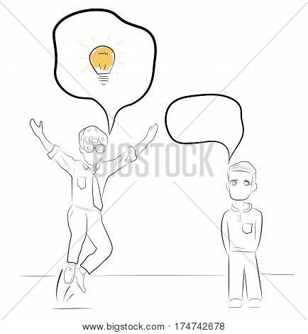 the man had an idea. teamwork. brainstorm. miniature about teamwork and partnership. Hand drawn cartoon vector illustration for business design and infographic
