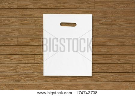 Blank Plastic Bag Mock Up On Wooden Floor. Empty White Polyethylene Package Mockup. Consumer Pack Re