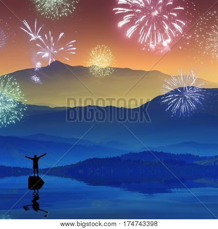 Men who stending on a rock in a mountain lake and welcome firework with raised hands