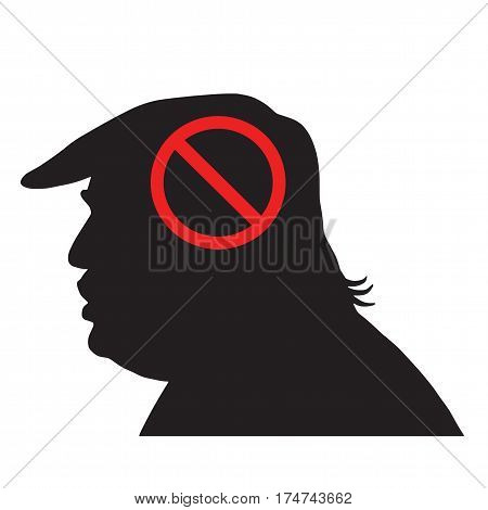 Donald Trump Silhouette With Anti Sign. Vector Icon Illustration. March 6, 2017