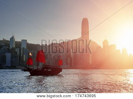 Tourist Sailing Ship Crosses Victoria Harbor, Hong Kong