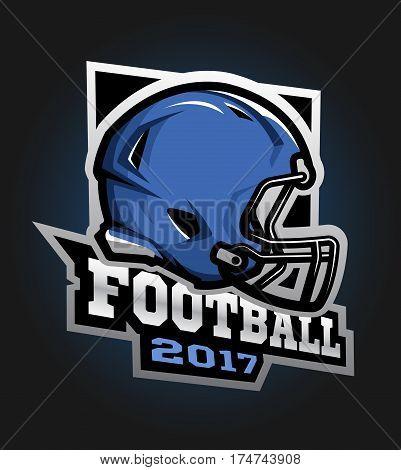 American football helmet. Games 2017 emblem sticker logo.