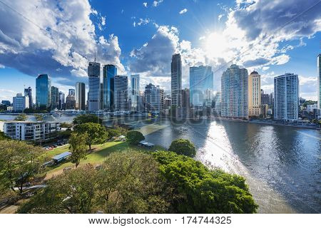 Brisbane, Australia - September 25, 2016: View of Brisbane city skyline and Brisbane river in late afternoon