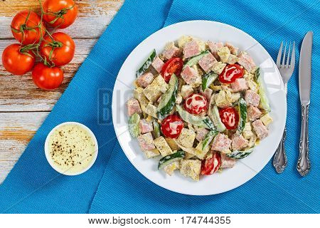 Ham, Cucumber, Cheese, Omelette,  Tomato Salad