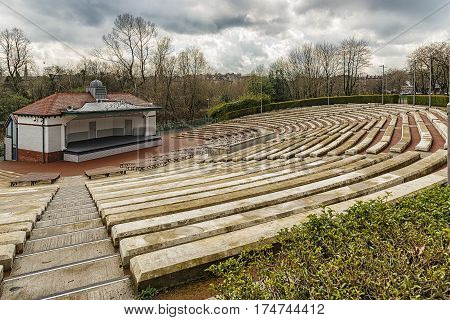 The Kelvingrove park bandstand situated in the west end area of Glasgow Scotland.
