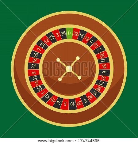 casino roulette wheel go round for risk game in vegas, lucky gambling fortune, play in betting for chance on win isolated vector illustration.