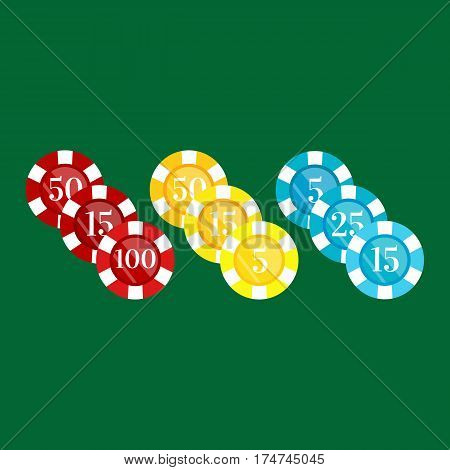 casino poker chip for risk game in vegas, lucky gambling play in betting for chance on winning isolated vector illustration.