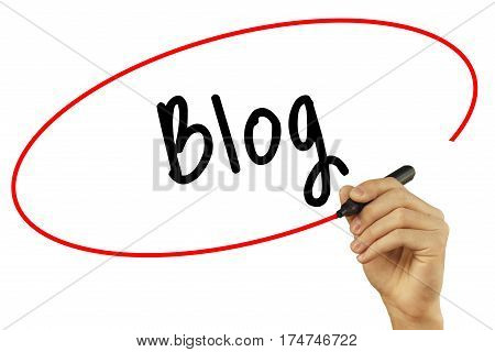 Man Hand Writing Blog With Black Marker On Visual Screen. Isolated On Background. Business, Technolo