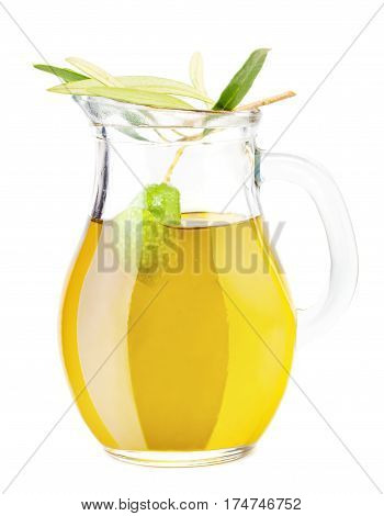 Pitcher with Olive Oil and Green Olive Isolated on White Background