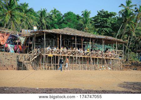 GOA INDIA - JANUARY 20:Bar on the ocean background in India January 20 2016 Goa India