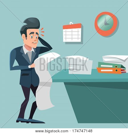 Stressed Busy Businessman with Long To Do List. Overtime at Work. Vector illustration