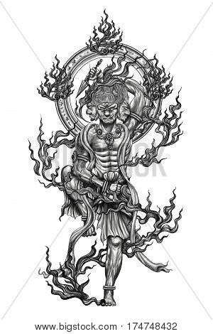 Black and white god of japan tattoo.Tattoo art and design paint on back.