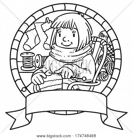 Coloring book of funny smiling knitter. Woman, sitting in a rocking chair, knitting a scarf, surrounded by yarn. Profession ABC series. Children vector illustration. Emblem