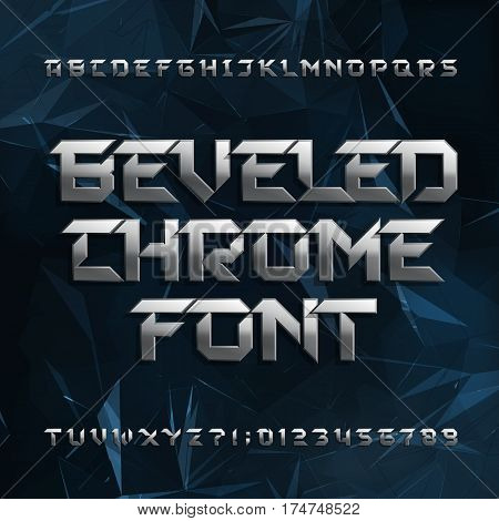 Beveled metal alphabet font. Chrome effect letters and numbers on abstract polygonal background. Stock vector typeface for your design.