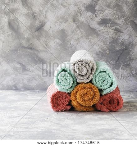 Stack Of Towels On A Marble Table, A Space Under The Text, Selective Focus