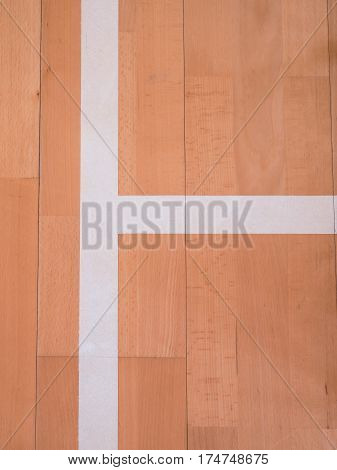 White Line In Hall Playground. Renewal  Wooden Floor