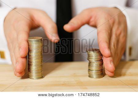 Businessman sharing profit closeup shot, close up