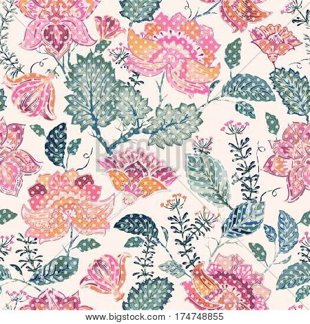 Floral seamless patter, provence style. Flowers wallpaper