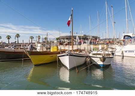CASSIS,FRANCE-AUGUST 10,2016:The port of Cassis a French village with colorful boats moored on a summer day.