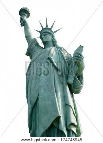 Statue of Liberty isolated on white, New York City, the United States of America.