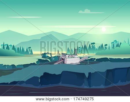 Gold mining vintage illustration. Wild nature at sunset. vector illustration for your application , project.