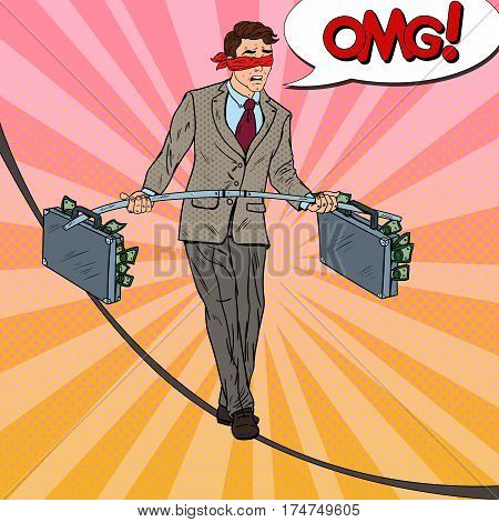 Pop Art Scared Business Man Walking on the Rope with Two Money Briefcase. Investment Risk. Vector illustration