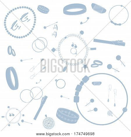 Jewelry illustrations pattern. Pink images, white background Vector