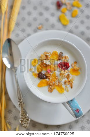 Cup of yogurt with crunchy cereals, close up