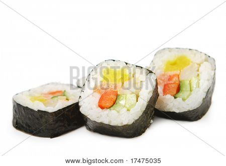 Japanese Cuisine - Sushi Rolls made from Salmon with Shrimps and Vegetables