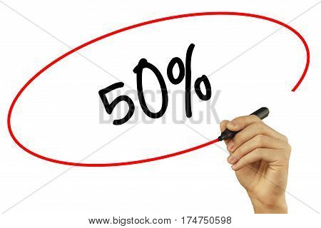 Man Hand Writing 50% With Black Marker On Visual Screen. Isolated On Background. Business, Technolog