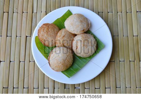 Thai sweetmeat grilled coconut cream hotcake called Kanom Krok