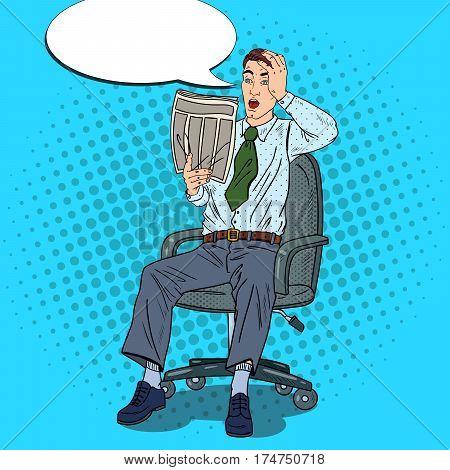 Pop Art Businessman Reading Newspaper and Grabbed His Head. Bad News Shock. Vector illustration